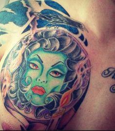 Madame Leota Tattoo! Screamin' skull tattoos (Lanark, Scotland)Graham Dixon (artist)