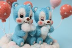 Bears in the sky | Needle felted teddy bears