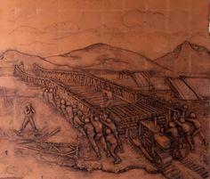 """Mural en honor a los Ingenieros Militares en casino de cadetes. Escuela Militar de Cadetes """"General José María Córdova"""" (ESMIC) del Ejército de Colombia. Bogotá- Colombia."""
