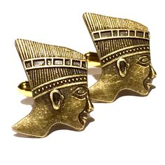 Bronze Egyptian Bust Cufflinks, Mens Ancient African Pharaoh Queen or King Head Cuff Links- Guys Prom Groom Wedding Mans Gift by Lynx2Cuffs on Etsy