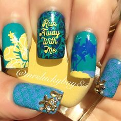 Beach nails for #aussienailchallenge This is a new challenge created by @emmy_hobson and @nevernakeynails and the theme for the month is Australian Christmas. I thought this was cute because being an Australian and knowing what it's like to be in the Southern Hemisphere in December the prompt of Beach was very fitting. I've sweated through many Christmas's whilst living there The base is Forever 21 Turquoise stamped with MDU polishes using UberChic plates 2-03 and 5-02 for the double stamp…