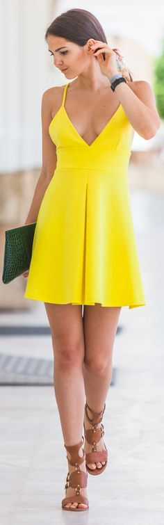 Oh My Love Yellow Deep Plunge V-neck Skater Dress by The Golden Diamonds