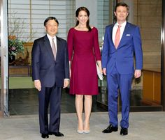 imperialfamilyjapan:  Danish State Visit to Japan, Day 3, March 28, 2015-Crown Princess Mary and Crown Prince Frederik attended dinner with Crown Prince Naruhito at the Akasaka Palace