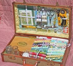 Look at what A Place to Roost made! It's a DIY sewing case made from a vintage suitcase!