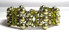 Victorian Style Beadwoven Swarovski Pearl and Crystal Olivine Bracelet by BeBoDesigns on Etsy