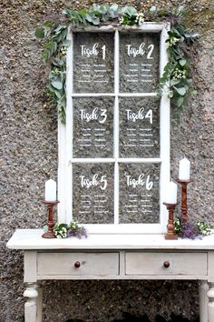 Sitzordnung Shabby Hochzeit - beschriftetes altes Vintagefenster