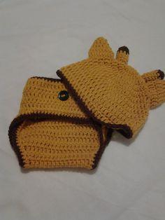Crochet Giraffe Hat and Diaper Cover by Poknispantry on Etsy, $15.99