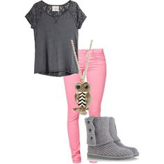 Lovin this outfit and my BFF would love this necklace Outfits For Teens, Fall Outfits, Casual Outfits, Cute Outfits, Girly Outfits, Cute Fashion, Teen Fashion, Fashion Outfits, Womens Fashion