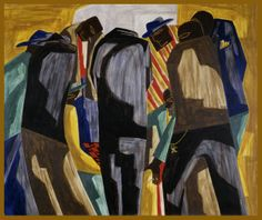 From 'Eye on the Collection: Artful Poses': Jacob Lawrence, Kibitzers, 1948, egg tempera on Masonite, 20 in. x 24 in., gift from the Childe Hassam Fund of the American Academy of Arts and Letters, 1951.3