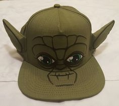 New Men's Star Wars Yoda W/ Ears Fun Baseball Cap Hat SnapBack Green OSFM NWT #Bioworld #BaseballCap