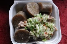 Pudding and souse   This is a Saturday tradition in Barbados. The pudding is a mixture of grated sweet potato, pepper and seasoning. Souse is made with parts of the feet and head and is pickled in cucumber, onion and lime juice, most often with breadfruit or sometimes sweet potato.