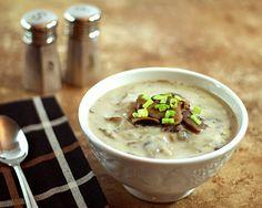 Cream Of Mushroom Soup With White Wine And Leeks