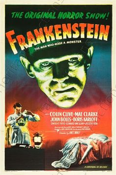 A 1931 American  horror/monster film directed by James Whale  based on the novel by Mary Shelley. A scientist and his assistant dig up corpses to build a man animated by electricity, but his assistant accidentally gives the creature an abnormal, murderer's brain. The resultant monster is portrayed by Boris Karloff with Colin Clive, Mae Clarke, John Boles. CLASSIC!