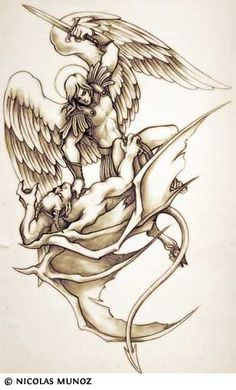 A tattoo of the Archangel Michael.