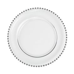 Accentuate banquet tables with stunning 13 inch Silver Beaded Clear Glass Charger Plates 4/pack for weddings, parties, events, and home. For holidays and entertaining, chargers add the elegant touch that make your guests feel special. As a base for dinner plates, impressive clear glass chargers with a striking silver beaded rim, remain after the dinner plates are removed, maintaining the beautiful tablescape. Hand wash plate chargers. Beautiful hand painted chargers are food safe to use…