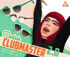 I've updated TS4 Club master Glasses and sunglasses. They're totally new. Please download and replace the old files. I think they became much better :) Update Summary 1) Available for Kids (for all ages, for both genders). 2) Fixed dull edge issue. Added correct specular map. 3) Changed the color swatch. 4) New CAS thumbnails. 5) Updated for gender patch. >> DOWNLOAD on my Blog!