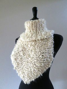 Light Cream Eggshell Ivory Ecru Color Curly by KnitsomeStudio, $43.00