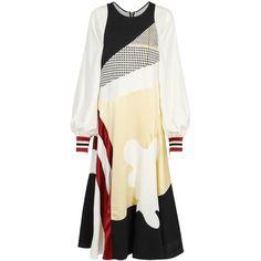 ROKSANDA Astal Panelled Silk Blend Dress - Size 14 (148.775 RUB) ❤ liked on Polyvore featuring dresses, multi-color dress, braid dress, stripe dresses, zipper dress and woven dress
