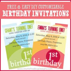 These free & easy DIY customizable birthday invitations are perfect! Quick to download and personalize!