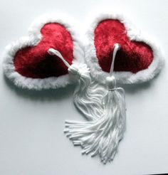 $15 + shippingChristmas Nipple Tassels    Red velvet with white fur trim & white 3 rayon tassels.    Sizes:    XS - 1 3/4 (45mm)  S - 2 (50mm)  M - 2 1/4