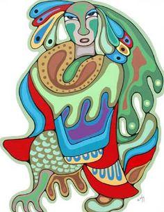 Thunderbird Man by Daphane Odjig - Woodlands Art Original - Red Kettle Art And Collectibles