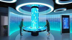 China ENFI design center on Behance Spaceship Interior, Futuristic Interior, Retro Futuristic, Futuristic Design, Interactive Museum, Interactive Installation, Museum Exhibition Design, Exhibition Booth, Column Design