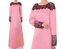 Dusty Rose Pink Gown Bridal Satin Abaya by Tailored2Modesty
