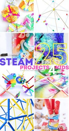 STEAM Projects for Kids This resource includes 25 STEAM project ideas/activities. This can be used to inspire teachers to create lesson plans when they are cross teaching STEAM and other subjects. Technology for Kids Stem Projects, Science Projects, Projects For Kids, Crafts For Kids, Project Ideas, Art Projects, Crafts Cheap, Engineering Projects, Steam Activities