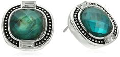 Napier Silver-Tone and Green Button Stud Earrings *** You can find out more details at the link of the image. (This is an affiliate link) #WomensJewelry