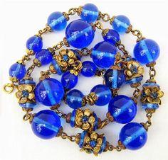 Vintage Czech Bohemian Art Deco Nouveau blue glass bead and flower necklace