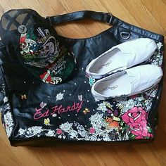 *Today only Sale* Hat/Beach Bag/ Shoes Bundle Ed Hardy Authentic Beach Bag/Hat/Shoes combo in this bundle for sale. All 3 for 1 price. Beautiful oversized beach bag with an a beautiful exterior design as well as an interior design in bag. Trucker hat and canvas shoes size 7.  Excellent deal for the Ed Hardy Fan :) Ed Hardy Bags Totes