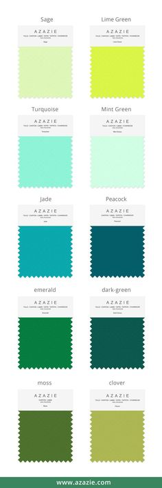 Azazie Green Swatch Set (10 shades * 6 fabrics) - Bridesmaid dress, Wedding, Wedding gown, Green, mint, moss, chiffon, mesh, satin