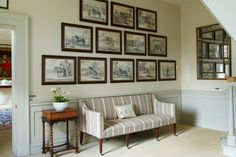 Picture Pyramid in hallway design ideas on HOUSE - including this by designer Caroline Patterson. Make your hallway a stylish room of its own with these design ideas Country House Interior, Interior And Exterior, Hallway Furniture, Home Furniture, Furniture Ideas, Hall Wallpaper, Hallway Pictures, Hallway Designs, Hallway Ideas