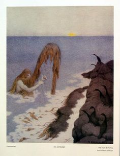 The Man From The Sea Havmannen Metal Print by Kittelsen Theodor Severin Most Popular Artists, Great Artists, Woodland Creatures, Magical Creatures, Illustrator, Nordic Vikings, Art Database, Design Graphique, Nature Paintings