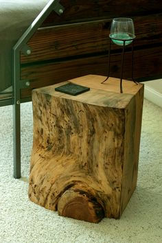 "Hand carved end tables, salvaged out of dead standing old growth lodgepole pine felled locally in Lake Tahoe. These are great pieces to separate furniture in your living space.     Fine sanded, oiled and water based poly coated.    * Varied dimensions: 13""-30""+  * Rough Weight: 50 lbs    ** NOTE: this is not the exact piece you'll be receiving, they vary drastically in size & features."