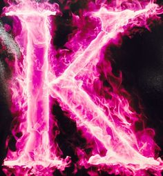Pink fire K Alphabet Letters Design, Letter Art, Letter Designs, Kristina Webb, Flowery Wallpaper, Flame Art, K Tattoo, Everything Pink, Love Images