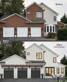Brick House Exterior Discover 20 Painted Brick Houses to Inspire You in 2020 House Paint Exterior, Exterior House Colors, Exterior Design, Exterior Homes, Diy Exterior Brick, Exterior Paint Ideas, Outdoor House Colors, Outdoor House Paint, Siding Colors For Houses