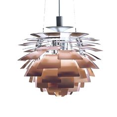 The Louis Poulsen Artichoke Suspension Lamp is considered to be a classical masterpiece of design made by Poul Henningsen. The structure of the Artichoke Suspension Lamp is made of twelve steel arches. On this structure Henningsen placed 72 copper leaves Poulsen Lamp, Modern Pendant Light, Pendant Lighting, Pendant Lamps, Copper Lighting, Danish Design Store, Copper Lamps, Luminaire Design, Modern Ceiling