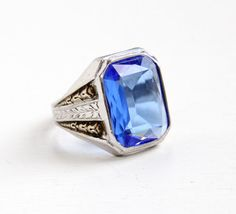 Vintage Art Deco Sterling Silver Simulated Sapphire Ring -1930s Size 10 Hallmarked Uncas Mens Statement Blue Glass Stone Wheat Motif Jewelry by Maejean Vintage on Etsy, $90.00
