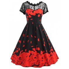 Plus Size Lace Rose Petal Print Vintage Dress ($26) ❤ liked on Polyvore featuring dresses, red rose dress, vintage lace dress, plus size lace dress, lace dress and plus size dresses