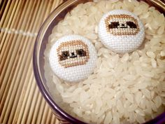 Cross stitch #Sloth Earrings by chopstickilla.deviantart.com on @DeviantArt