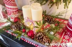 diy lighted pinecone candle tray, christmas decorations, crafts, seasonal holiday decor Favorite Christmas Songs, Christmas Love, Christmas Holidays, Christmas Vignette, Christmas Ideas, Christmas Porch, Christmas Kitchen, Christmas Candles, Christmas Wishes