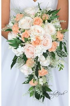 Peach rustic theme Wedding brides Bouquet with No roses – Peach and Coral wedding bouquets Cascading Wedding Bouquets, Beach Wedding Flowers, Bride Bouquets, Bridal Flowers, Flower Bouquet Wedding, Floral Wedding, Bouquet Flowers, Bridal Bouquet Coral, Trailing Flowers