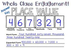 Place Value Activity Mat- great for math centers, whole group engagement, or review.