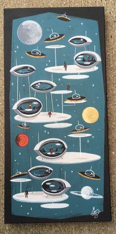 El Gato Gomez Painting Retro SciFi Sci Fi Robot Flying Saucer Futuristic Pulp | eBay
