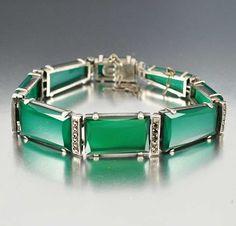 Vintage Chrysoprase Marcasite Sterling Art Deco Bracelet