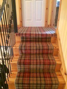 Cracking installation of Hugh Mackay weathered Buchanan tartan Tartan Carpet, Painted Stairs, Carpet Stairs, Carpet Runner, New Homes, Nice Ideas, Staircases, Carpets, Runners