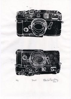 New to minouette on Etsy: Shoot - Classic SLR Film Camera Lino Block Print Leica M6 Linocut of a Leica Camera (26.00 USD)