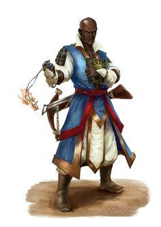 Human Black Male Wizard - Pathfinder PFRPG DND D&D d20 fantasy
