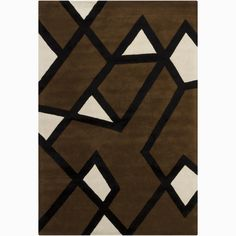 A thick, soft pile highlights this area rug. Hand-tufted in India using premium quality wool, this area rug features a beautiful geometric design in shades of off-white and black against a brown background.